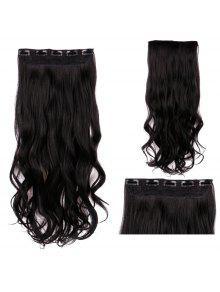 مقطع طويل في متموجة الشعر التمديد الاصطناعية - أسود
