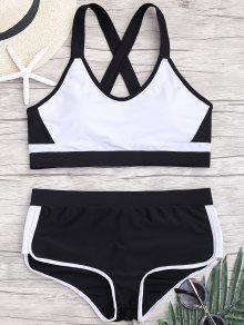 Cross Back Color Block Sporty Bikini - White And Black S