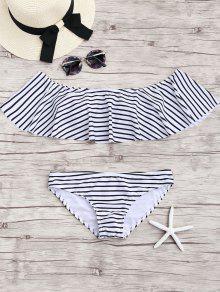 Stripe Volantes Fuera Del Conjunto De Bikini Hombro - Blanco M