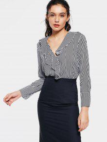 Fitting Stripes Ruffles Blouse - Stripe S