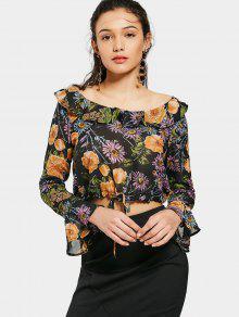 Blusa Floral Cropped Con Volantes - Floral S
