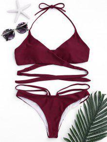 Ensemble De Bikini à Bretelles Halter Strappy - Rouge M