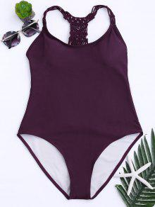Strappy Cutout One Piece Swimsuit - Wine Red L