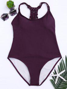 سترابي انقطاع قطعة واحدة ملابس السباحة - نبيذ أحمر S