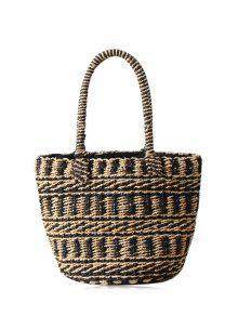 Color Block Straw String Tote Bag - Black