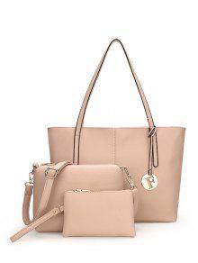 3 Pieces Stitching Faux Leather Shoulder Bag Set - Apricot
