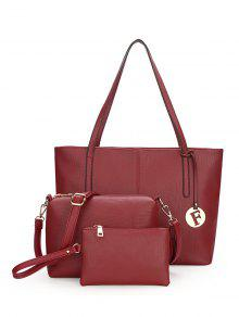 3 Pieces Stitching Faux Leather Shoulder Bag Set - Wine Red
