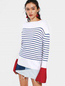 Contrasting Stripes Flare Sleeve Sweater - Stripe S