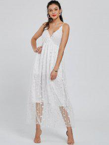 Allover Star Maxi Flowing Slip Dress - White S