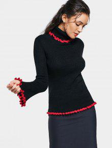 Ruffles Contrasting Turtleneck Sweater - Black L