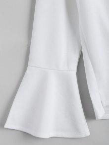 Xl Blanco Florales Con Parcheado De Mangas Blusa qO0xpFYw