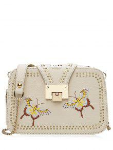 Studded Embroidery Chain Crossbody Bag - Palomino