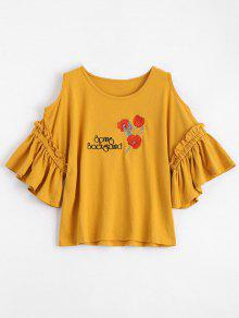 Floral Patched Flare Sleeve Cold Shoulder Tee - Ginger