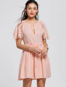 Cutwork Tie Front Skater Dress - Pinkbeige M