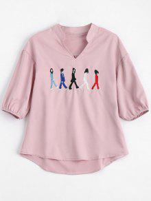 V Neck Figure Embroidered Patch Blouse - Pink S