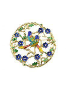 حجر الراين زهرة الطيور دائرة بروش - ذهبي