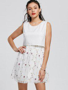 Embroidery Striped Mini Popover Dress - White M