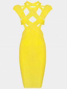 فستان الضمادة ملائم ذو فتحات - الأصفر M