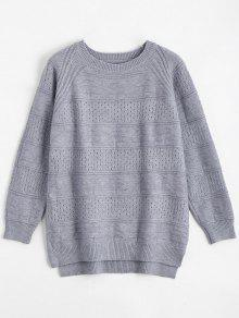 Hollow Out Crew Neck Sweater - Blue Gray
