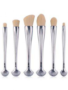 6Pcs Multipurpose Plating Shell Facial Makeup Brushes - White