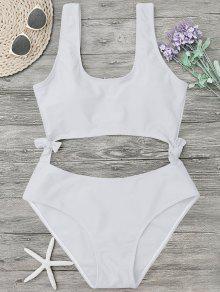 High Leg Cut Out Bowknot Swimwear - White L
