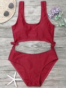 High Leg Cut Out Bowknot Swimwear - Red M