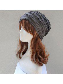 للطي الطبقات محبوك قبعة دافئة - الرمادي العميق