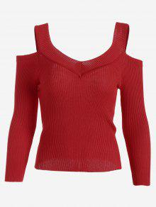 Cold Shoulder Ribbed Knitted Tee - Red