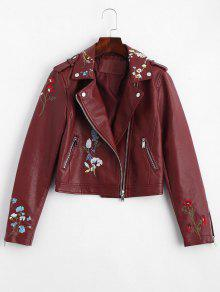 Floral Patched Zippered Faux Leather Jacket - Wine Red L