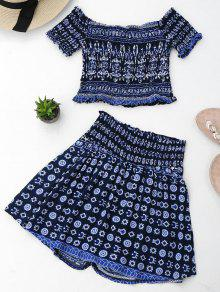 Skorts Azul Purp Y Print Tribal Top Set Crop qnwTzYIP