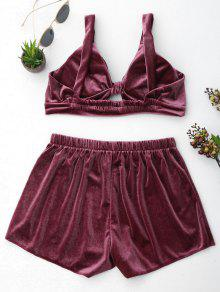 43% OFF  2019 Cut Out Velvet Top And Shorts Set In PURPLISH RED M ... c1a0814a0