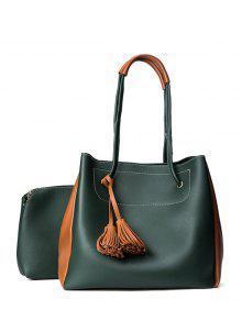 Tassels Colour Block Shoulder Bag Set - Blackish Green