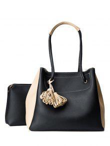 Tassels Colour Block Shoulder Bag Set - Black