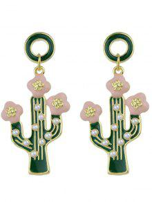 Cactus Pendant Earrings - Green