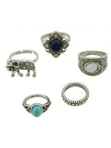 5 Pieces Bohemia Elephant Rings - Silver