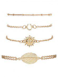 Sun Leaf Bracelets Suit - Golden