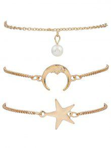 3 Pieces Moon Star Bracelets - Golden