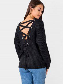 Back Lace Up V Neck Pullover Sweater - Black
