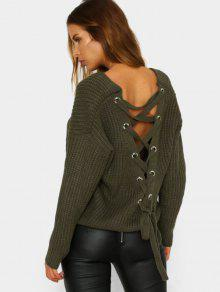 Back Lace Up V Neck Pullover Sweater - Army Green