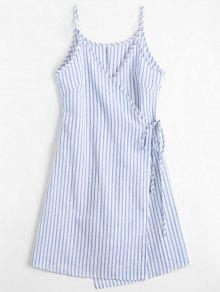 Vestido Envuelto A Rayas Con Tirante Fino - Azul L