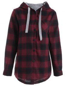 قميص بقلنسوة من قماش المربعات - أحمر 2xl