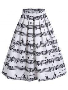 High Waist Music Notes Midi Skirt - White M