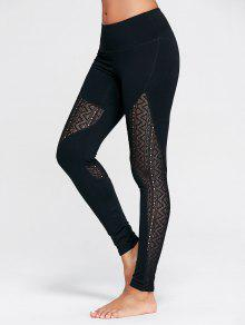 Zigzag Sheer Mesh Workout Tights - Black M