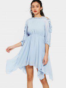 Fließendes Kleid Aus Chiffon Mit Rüschen Und Schnürsenkel  - Hellblau L