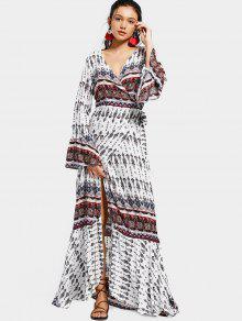 فستان ماكسي لف توهج الأكمام طباعة - أبيض