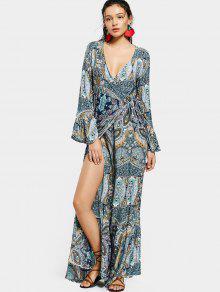 Printed Flare Sleeve Wrap Maxi Dress
