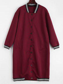 معطف طويل زر بجيوب مخطط - أحمر غامق