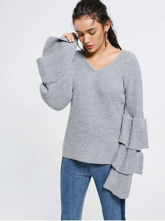 best V Neck Tiered Flare Sleeve Sweater - GRAY ONE SIZE