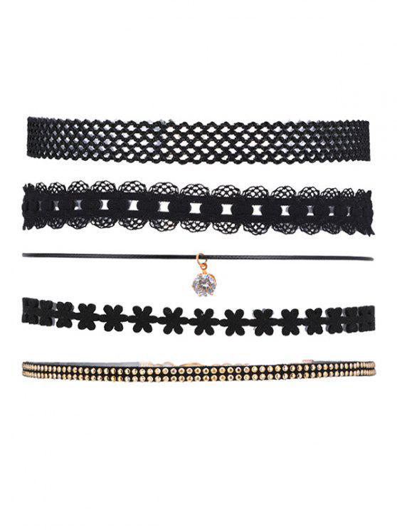 5 piezas Collar Punk Choker - Negro