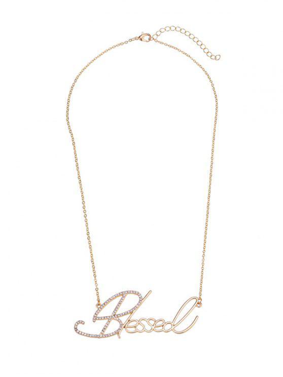 Collar de la placa de identificación del Rhinestone - Dorado
